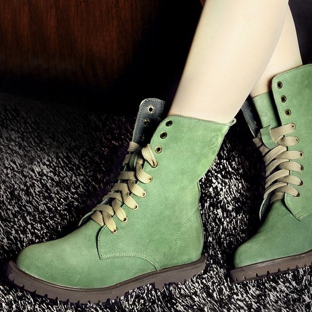Winter Fur Warm Women s Mid Calf Martin Boots Fashion Cow Suede Leather  Boots For Women Green Boots Girl s Student Shoes 5fdfd8b38