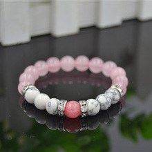 PINIYA Wholesale Drop Shipping Pink Quartz & Howlite Stone Bead Elastic Stretch Bracelet for Girl Women Gift Jewelry