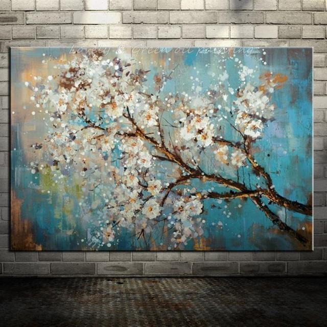 Hand Painted Modern Home Decor Wall Art Picture Plum Blossom White Flower Tree Oil Painting