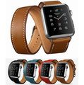 Lujo extra larga banda genuineleather recorrido doble correa de cuero correa de pulsera para apple watch 38mm/42mm en stock