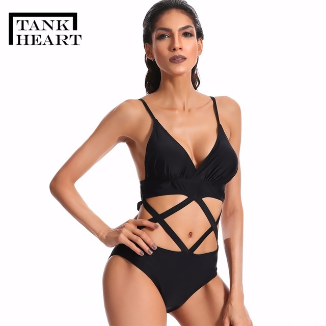 5c609562d98 US $21.59 |Tank Heart Black Sexy Bandage Bikini Plus Size Swimwear Women  one piece Swimsuit Bathing suit Beachwear Bodysuit Monokini Praia-in Body  ...