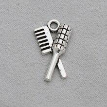 RAINXTAR, rizador de pelo de aleación a la moda y forma de peine, abalorios de peluquería Vintage, 20 piezas AAC738 de 12x21mm