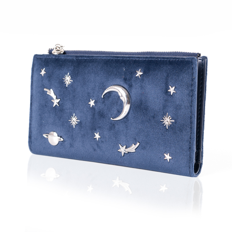 Prettyzys Women Wallet Female Slim Purse Short Small Long Leather Change Card Holder Coins Zipper Light Star Moon Velour Large coneed fashion women coins change purse clutch zipper zero wallet phone key bags j27m30