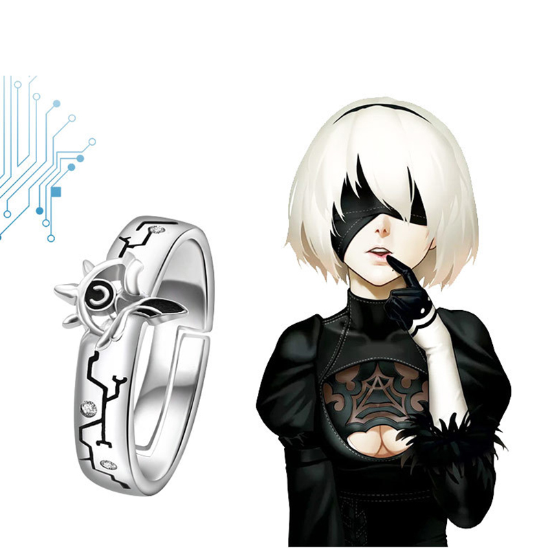 Creative NieR:Automata Ring Adjustable Anime YoRHa Type A No. 2 Rings 925 Silver Jewelry for Women Men Cosplay Christmas Gift titanium ring