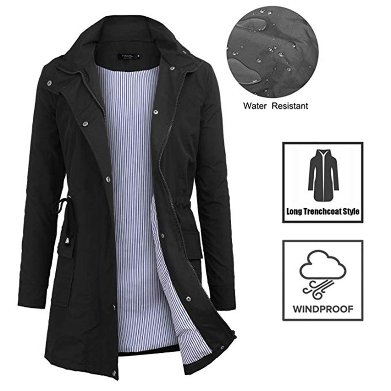 Waterproof   Trench   Coat For Women Clothes Autumn Casual Button Pocket Hooded Solid Color Zipper Slim Long Coat Femme Black