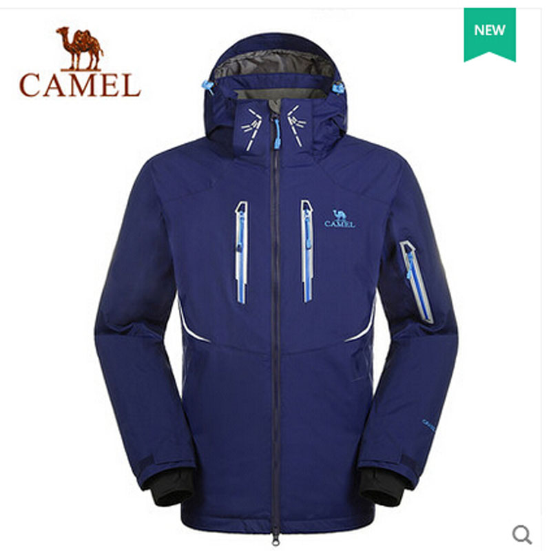Camel 2015 New Ski Jacket Men Outdoor Soft Shell Jacket Wind Breaker Waterproof Thick Warm Ski Suits Jackets Male A5W246037 new men hat women plush soft equipment outdoor ski motorcycle mask wind heat cs helmete balaclava fleece cap break warm headgear