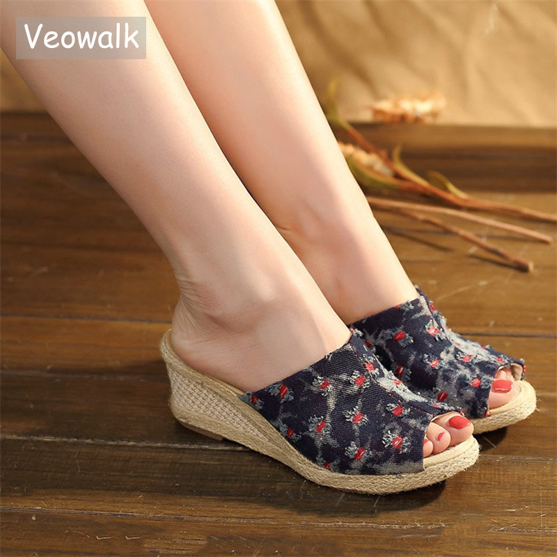 Veowalk Women Distressed Canvas Open Peep Toe Wedge Slide Clogs Handmade Retro Ladies Comfort Summer Jeans Mid Heel Shoes