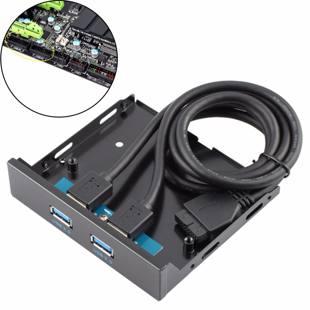 1pc Floppy Disk USB 3.0 20 Pin 2 Ports Front Panel Bay Hub Bracket Cable Plug and play Floppy Disk USB 3.0 Connector