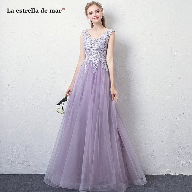 best loved 161b3 bed3b US $61.5 18% OFF|La estrella de mar vestiti donna eleganti per cerimonie  hot sexy V neck tulle crystal A Line lavender navy blue bridesmaid dress-in  ...
