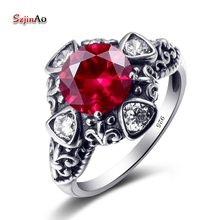 Szjinao Flower Tibetan Silver Rings Women Solid 925 Silver Ring Red Cubic Zirconia Cheap Jewelry Ring Skeleton Halloween Sale