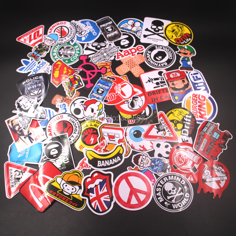 60pcs Mixed Funny Brand DIY Sexy Stickers For Home Decor  Laptop Sticker Decal Fridge Skateboard Doodle Car Motorcycle Bicycle