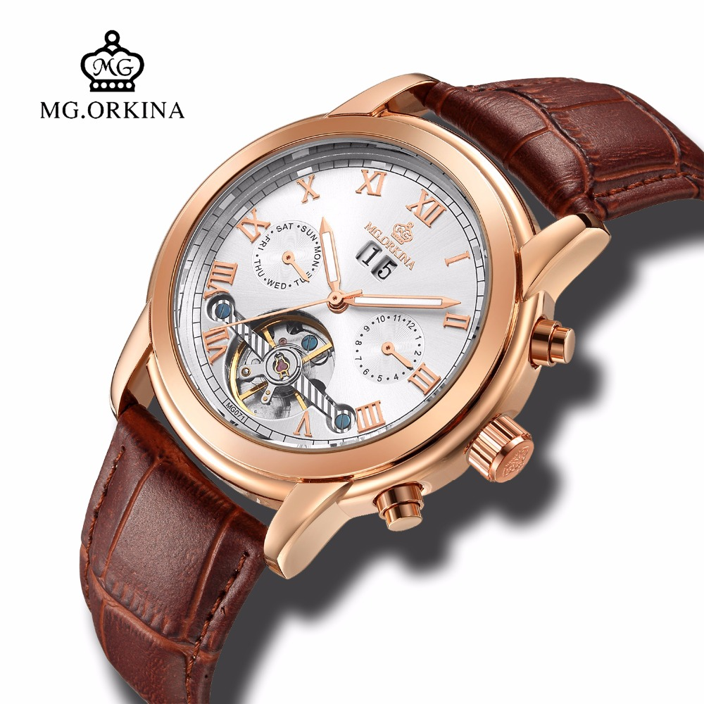 Mg.orkina Business Leather Tourbillon Mechanical Automatic Transparent Watches Mens Luxury Self Wind Auto Date Week Wrist Watch mg orkina luxury tourbillon automatic self wind watches men mechanical auto date month week wrist watch men clock wristwatches