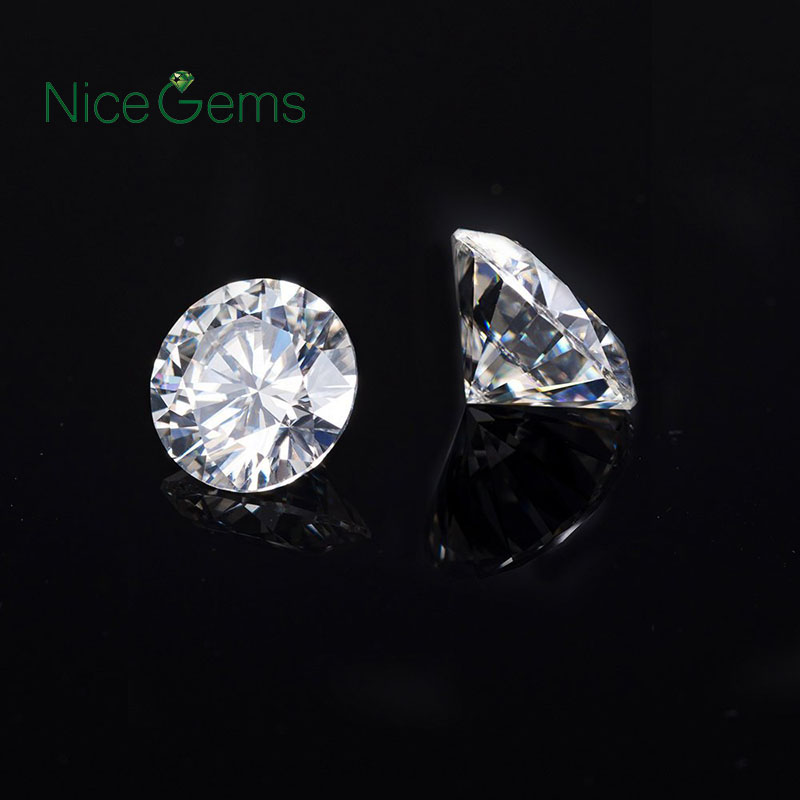 NiceGems 0.4CTW Moissanite D Color Round Excellent Heart And Arrows Cut Colorless 4.5MM lab Grown Diamond loose Stone VVS1 1