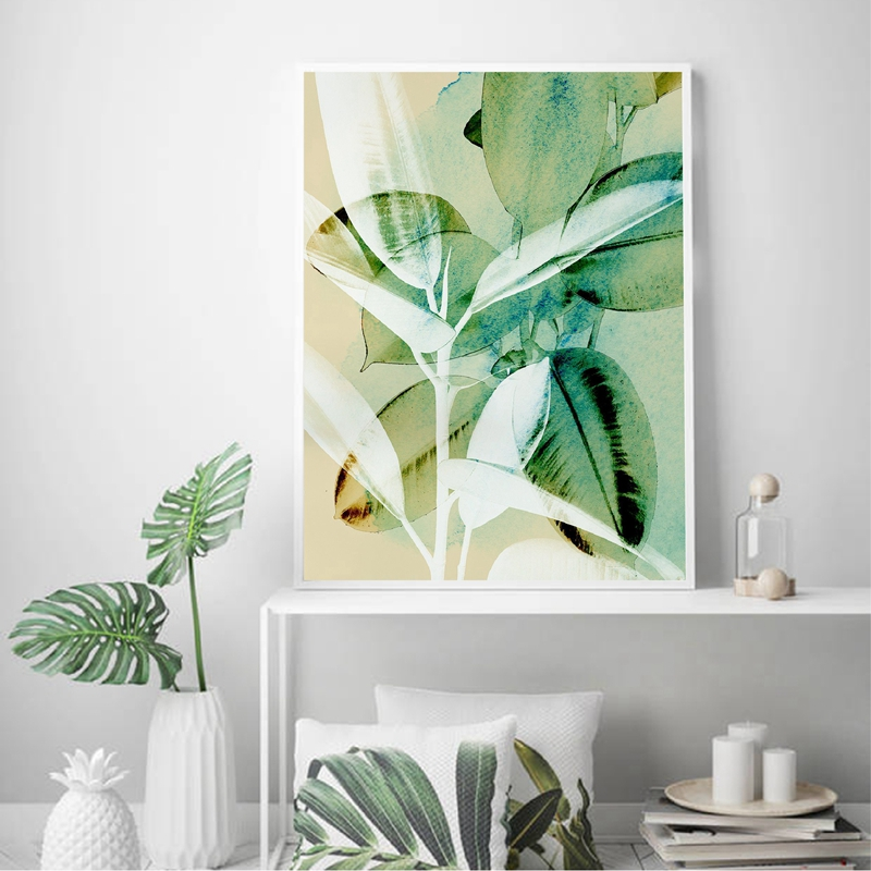US $10.10 10% OFFPlant Abstract Tropical Wall Art Canvas Print Large  Botanical Watercolour Rubber Tree Leaf Poster Painting Home Room Wall