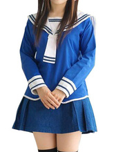 Free shipping Blue School Uniform Cosplay Costume