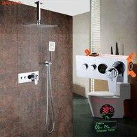 304 Нержавеющаясталь 8 10 12 дюймов термостатический дождь смеситель светодиодный цифровой Дисплей потолочные осадки Насадки для душа компле