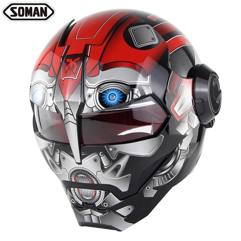 Motorrad Helm Ironman Stil Motor Bike Sicherheit Casco Motocross Capacete Monster Casque DOT Zustimmung Soman 515