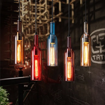 IWHD Vintage Glass Bottle Pendant Light Fixtures Style Loft Industrial Retro Pendant Lights Living Room Bar Color Hanglamp iwhd american style wood vintage pendant light fixtures iron retro loft industrial hanging lamp led living room hanglamp lustre