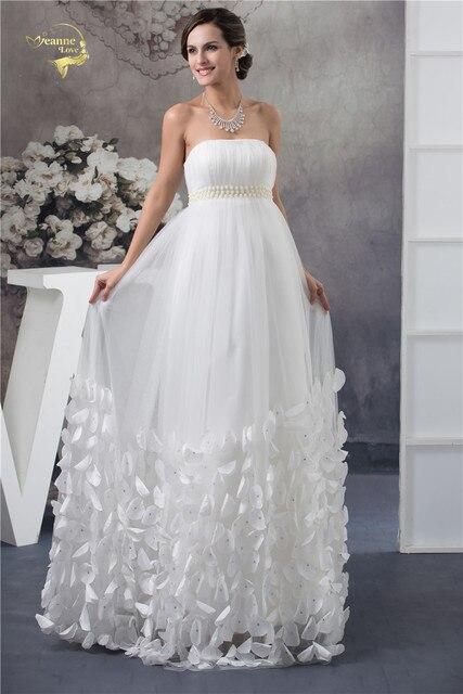 Jeanne Love 2018 White Empire Wedding Dresses For Pregnant Bride ...