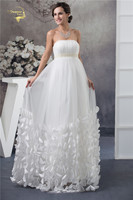 Jeanne Love 2018 White Empire Wedding Dresses For Pregnant Bride Strapless Tulle Butterfly Petals Decoration Bridal Gown YN 9609