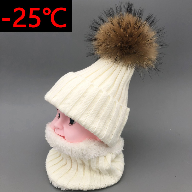 2018 New hat Kids Boys Girls Warm Fleece Liner   Beanie   Hats set Winter Hat For Children Baby 100% Fur Pompom   Skullies     Beanies