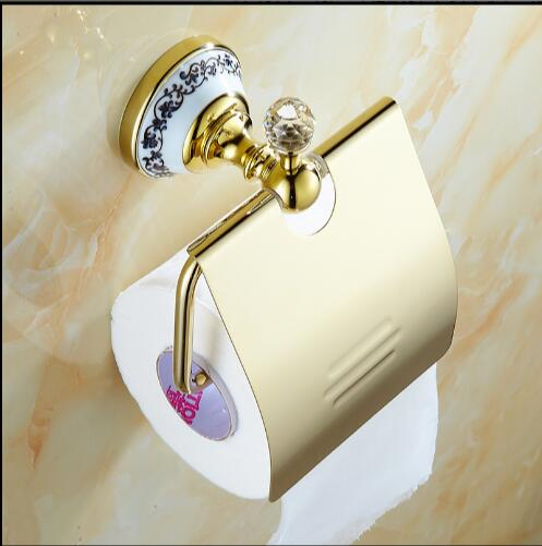 Fashion design Crystal Silver Paper Holder Bathroom Paper Roll Holder Wall-mounted Brass Toilet Paper Holder Free Shipping