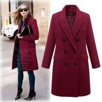 Модное шерстяное пальто женское осень-зима тонкое Длинное Элегантное пальто женское свободное теплое шерстяное пальто с длинным рукавом ...