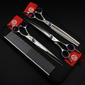 8 Inch Professional High grade Scissors Pet Grooming set Dog Shears Hair ,Straight & Thinning & Curved scissors with case