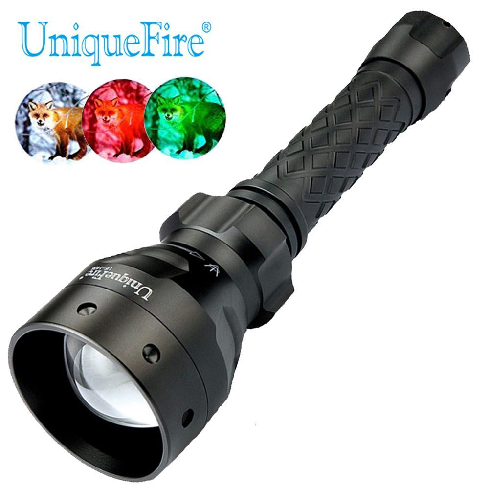 UniqueFire 1406 XP E blanco/verde/luz roja Led linterna, enfoque de zoom linterna ajustable haz de la linterna de caza
