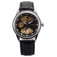 WINNER Brand Automatic Golden Skeleton Steampunk Black Leather Band Mechanical Self Winding Mens Watches Relojes Hombre