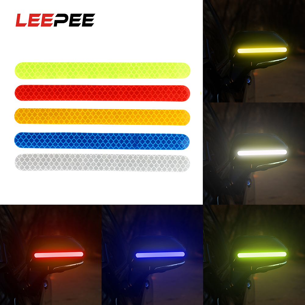 LEEPEE 2 Piece/set Car Reflective Strip Warning Logo Rearview Mirror Reflective Stickers Universal Decoration Car Sticker