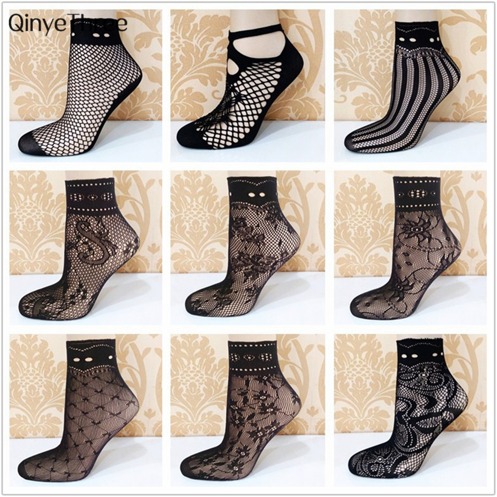 2017Hot Sale Elegant Women Lovely Girls summer Fashion Sexy Lady Soft Black Lace Ruffle Fishnet Mesh Short Ankle   Socks   ultrathin