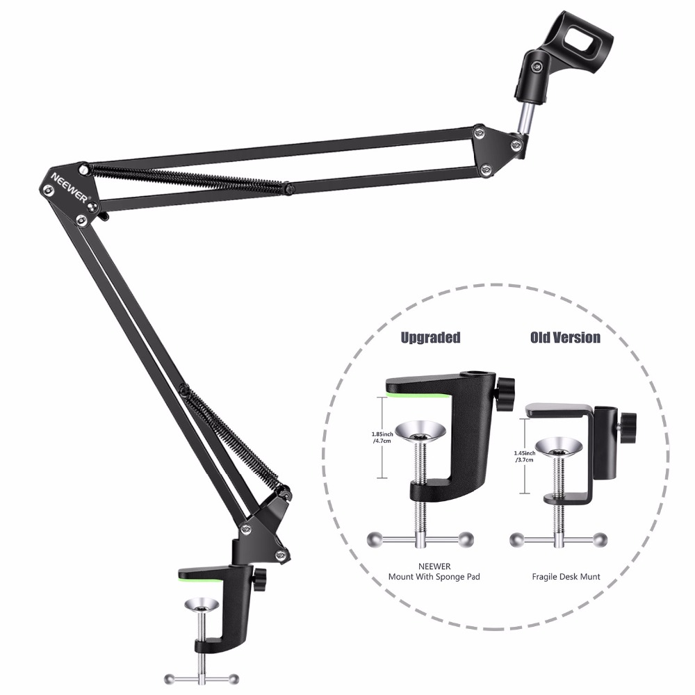 Neewer NW-800 Condenser Microphone & NW-35 Scissor Arm Stand  XLR Cable and Mounting Clamp & NW-3 Pop Filter Phantom Adapter Kit