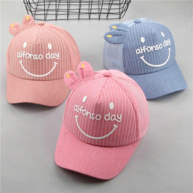 75f149e06db 2018 Summer Baby hats Visor Summer Child Mesh Net Cap Breathable cartoon  Cat letters Soft Hat