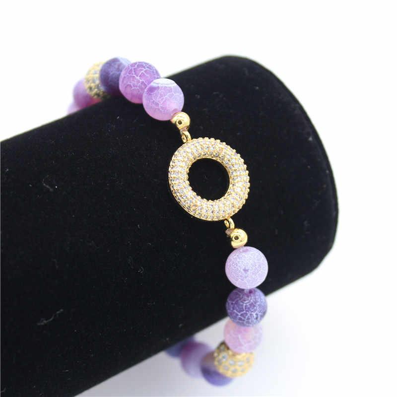 Poshfeel 8mm סגול טבעי אבן חרוז צמיד לנשים קריסטל צמידים & צמידי CZ תכשיטי מתנה MBR190023