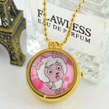 Hot Sell Middle Size Gold Case Radiant Quartz Fob Pocket Watch Necklace Chain Women Sweater Chain 100pcs/lot