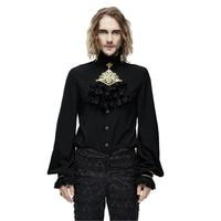 Punk Gothic Mężczyźni Tie Bluzki Koszulowe Szyfonowe Ruffle Stand-kołnierz Tuxode Koszule Tłoczone Flouncing Długim Rękawem Bluzka Top