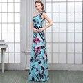Chiffon de Um Ombro Flor Padrão de Impressão Floral Vestidos de Noite Longo 2016 Formal Vestido de Verão Vestidos de Festa À Noite