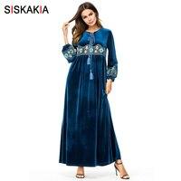 Siskakia Vintage Ethnic Embroidered Long Dress Velvet Flower Embroidery Fashion Patchwork Maxi Dresses for Women Dressing Gowns