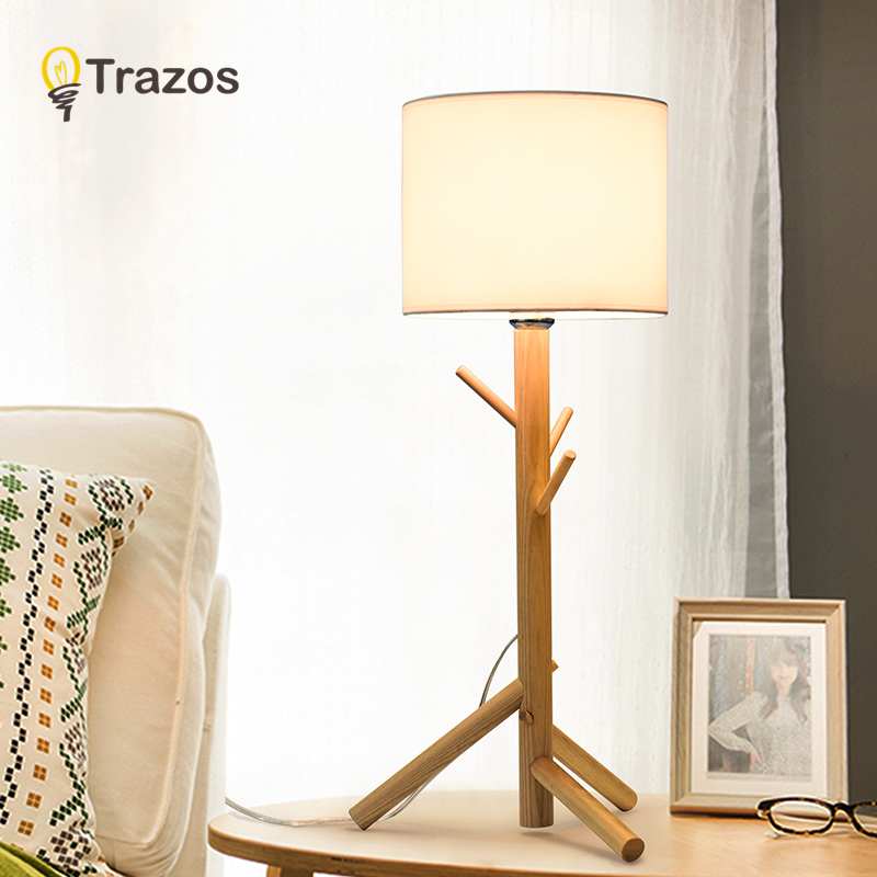 TRAZOS Wooden Table Lamp With Fabric Lampshade Wood Bedside Desk lights Modern Book Lamps E27 Reading Lighting Fixture