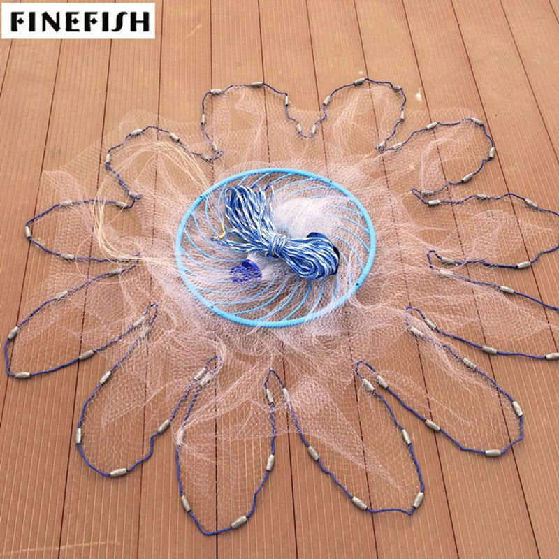 Finefish American style throw network 3 7 2m cast net small size mesh outdoor water hand