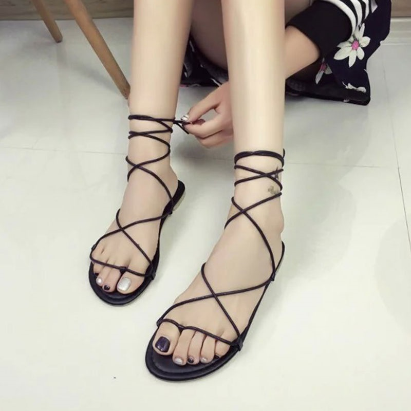 Sandals Ladies Cross-Tied Strappy Flat-Heels Lace-Up Black Casual Summer Solid Khaki