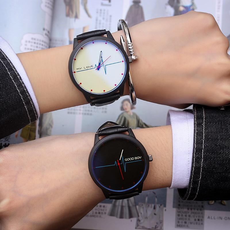 Couple Watches Retro Casual Blue Light Glass Watch Men Clock Creative ECG Quartz Analog Leather Wristwatches Zegarek Meski