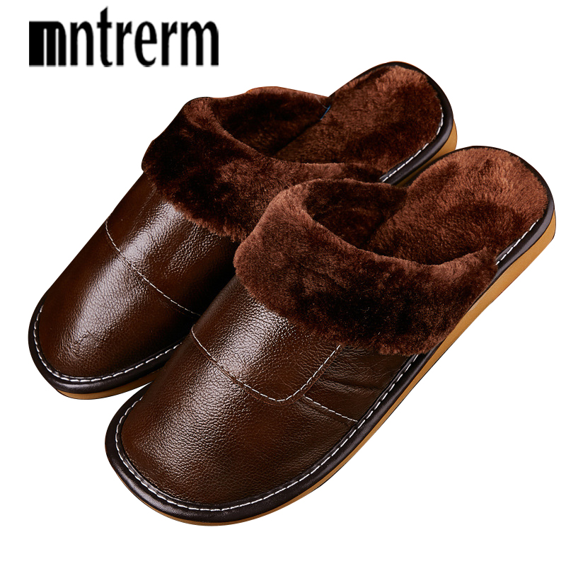 Mntrerm 2018 Lovers Winter Thickening Warm Shoes Mens Leather Cotton Slippers Men Large Size 39-44 Indoor Home Shoes With Plush