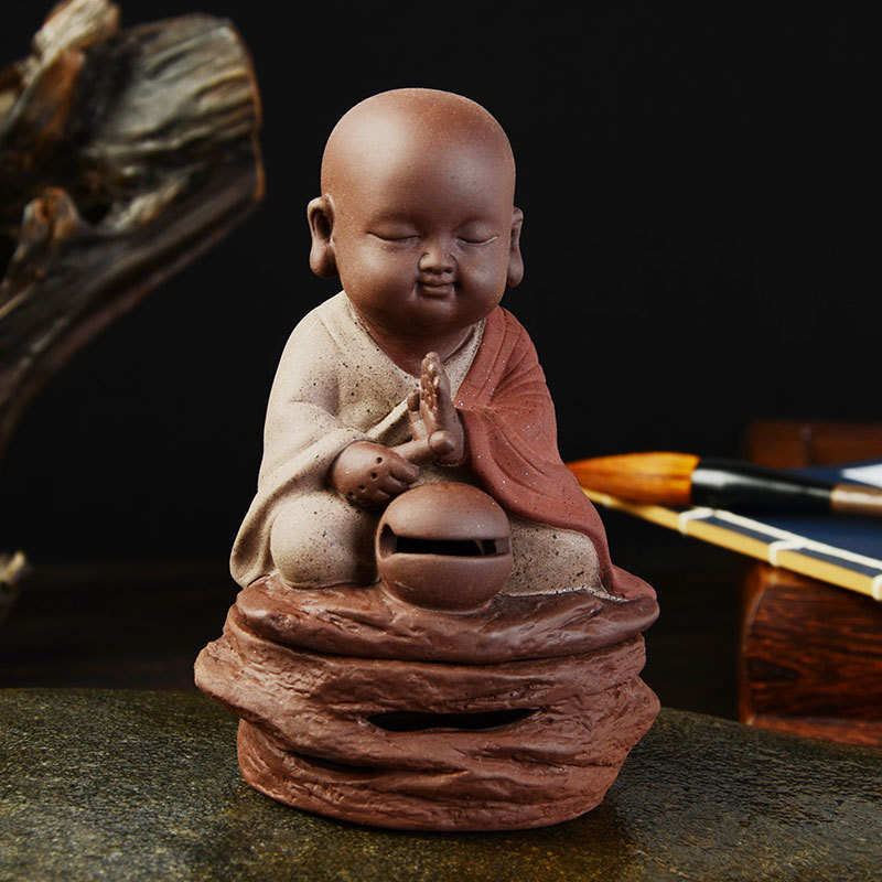 Buddha Statues incense burner beat a wooden drum dish incense base Bowl baldheaded monk rich aroma