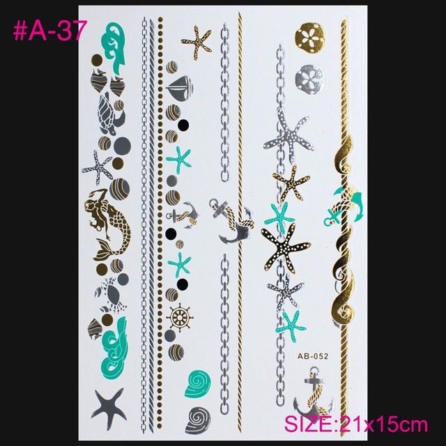 The High-end Luxury Silver Hot Stamping Tatto Stickers Gold Silver Metal Henna Tattoo Temporary Tattoos