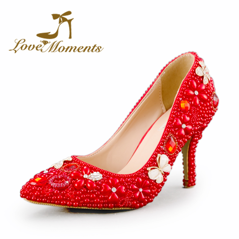 Handmade bridal high heel Pointed Toe lady shoes wedding shoes women pumps Red pearl rhinestone Sexy Style party shoes Size 42 sequined high heel stilettos wedding bridal pumps shoes womens pointed toe 12cm high heel slip on sequins wedding shoes pumps