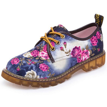 2017 frühjahr Floral Bedruckte Leinwand Rutschfeste Frauen Schuhe Casual Damen Flache Schnürschuhe Frau Factory Outlet