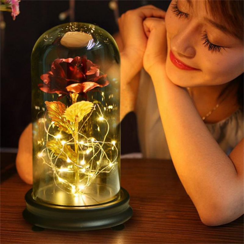24K Gold Plating Rose Flower in a Glass Dome with LED Light String Gift For Valentine's Day Powered Batteries (Not Included) LED Night Lights     - title=