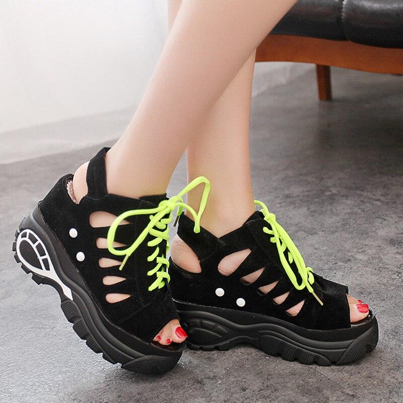Dropshipping Women Sandals Hollow Slippers Slides Summer Sneakers Platform Wedges Women Elevator Shoes 6cm Hidden High Heels